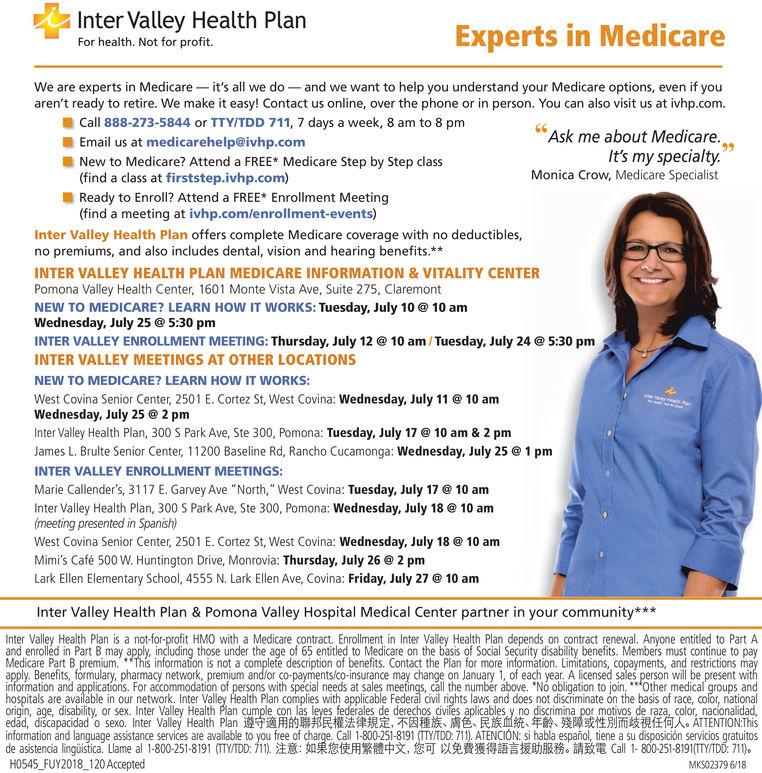 SUNDAY, JULY 8, 2018 Ad - Inter Valley Health Plan - Los ...